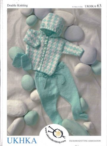 "UKHKA 63 - Babies Hooded Pram Set Knitting Pattern  16-22 ""/ 41-56 cm"
